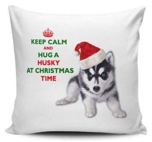Christmas Keep Calm And Hug A Husky Novelty Cushion Cover